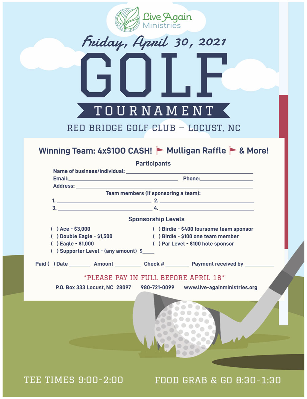 Live Again Ministries Golf Tournament